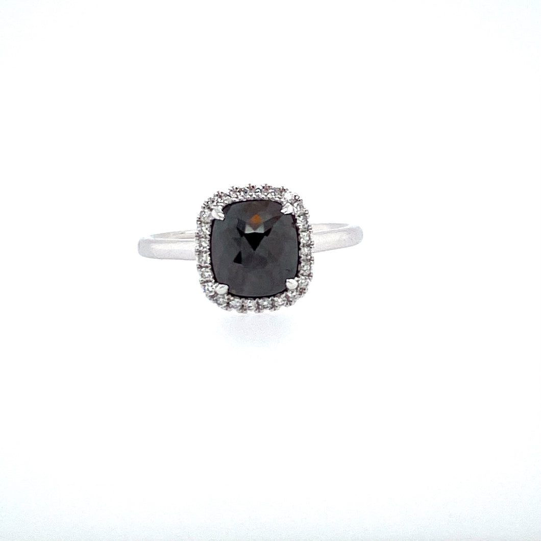 This Spectacular 14 Karat White Gold High Polished Ring Features a Squarish Dark Colored 1.51 Carat Rough Diamond, with White Diamonds around as a Halo.  Finger Size 6.5  Total Diamond Weight 1.68 Carats