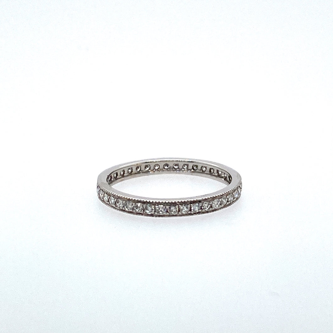 This Gorgeous 14 Karat White Gold Eternity Band is Pave Set with Round Diamonds all the Way Around. Total Diamond Weight .43 Carat  Finger Size 7