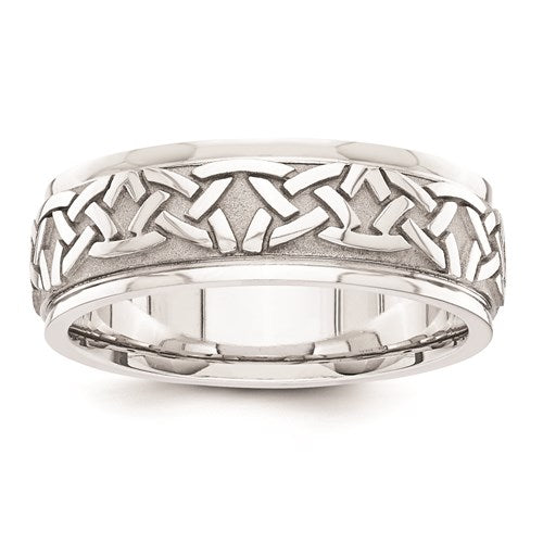 This 14 Karat White Gold Men's 7.0mm Wide Comfort Fit Band Features a Fancy Design.  Finger Size 10  Total Weight 10.2 Grams