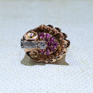 Estate - 14KR Ruby and Diamond Ring