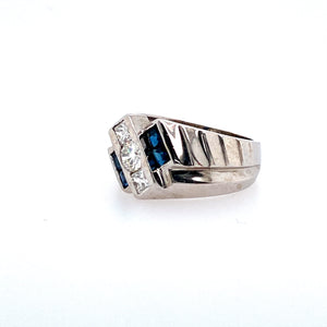 Estate - 14KW Men's Sapphire and Diamond Ring