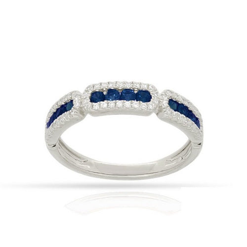 14 karat white gold .50ctw sapphire .20ctw diamond stackable band.  finger size is 6.5