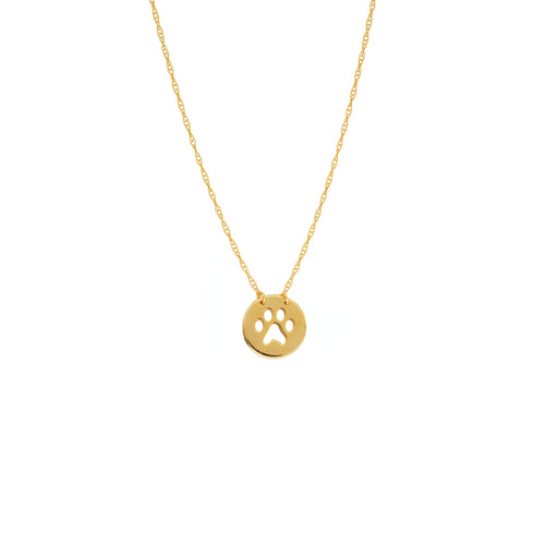 14 karat yellow gold cut-out paw print mini necklace can be worn at 16