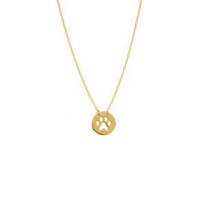 "14 karat yellow gold cut-out paw print mini necklace can be worn at 16"" or 18"""