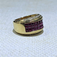 Load image into Gallery viewer, This Gorgeous Estate wide band features Three rows of high quality natural rubies Crafted in 18 Karat Yellow Gold, with some sparkly white accent Diamonds. 15.2 Grams  Approximate Weight of Rubies is 3.11ctw  Approximate Weight of Diamonds is .37ctw  Finger size is 7
