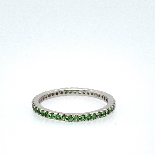 Wear By itself or Stack with your other Rings, this 18 Karat White Gold Ring features .40 Carats of Tsavorite Gemstones.  Finger Size 5.5  Total Gram Weight is 1.5