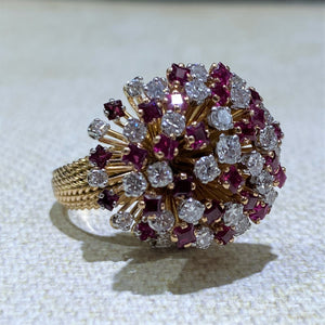 Estate - 18KY Ruby and Diamond Ring