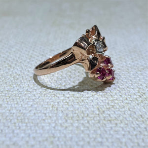 Estate - 14KR Diamond and Ruby Ring