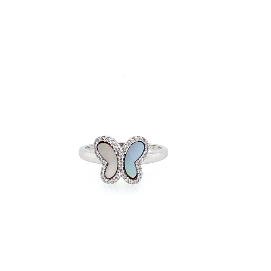 Accessorize your Spring or Summer Wardrobe with our Dainty 14 Karat Mother of Pearl Butterfly ring with Accent Diamonds around the Wings.   Finger Size is 7