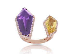 14 Karat rose gold amethyst, citrine, and diamond ring