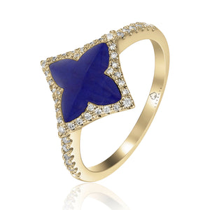 14 karat yellow gold and blue lapis diamond ring