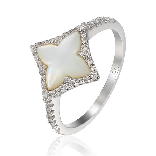 14 karat white gold 1.52 carat mother of pearl ring with .18 carat total weight of diamond accents. finger size is 6