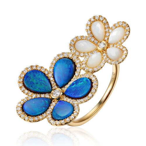 This Beautiful Designed Ring, made by Luvente, Features Two Flowers, Measuring 30.0mm Across, set with Pear Shaped Opals and Mother of Pearl, than Surrounded by 142 Sparkling White Diamonds. Total Opal Weight = 2.97 Carats  Total Mother of Pearl Weight = 1.17 Carats  Total Diamond Weight = .48 Carat  Finger Size 6.5  Total Weight 4.6 Grams