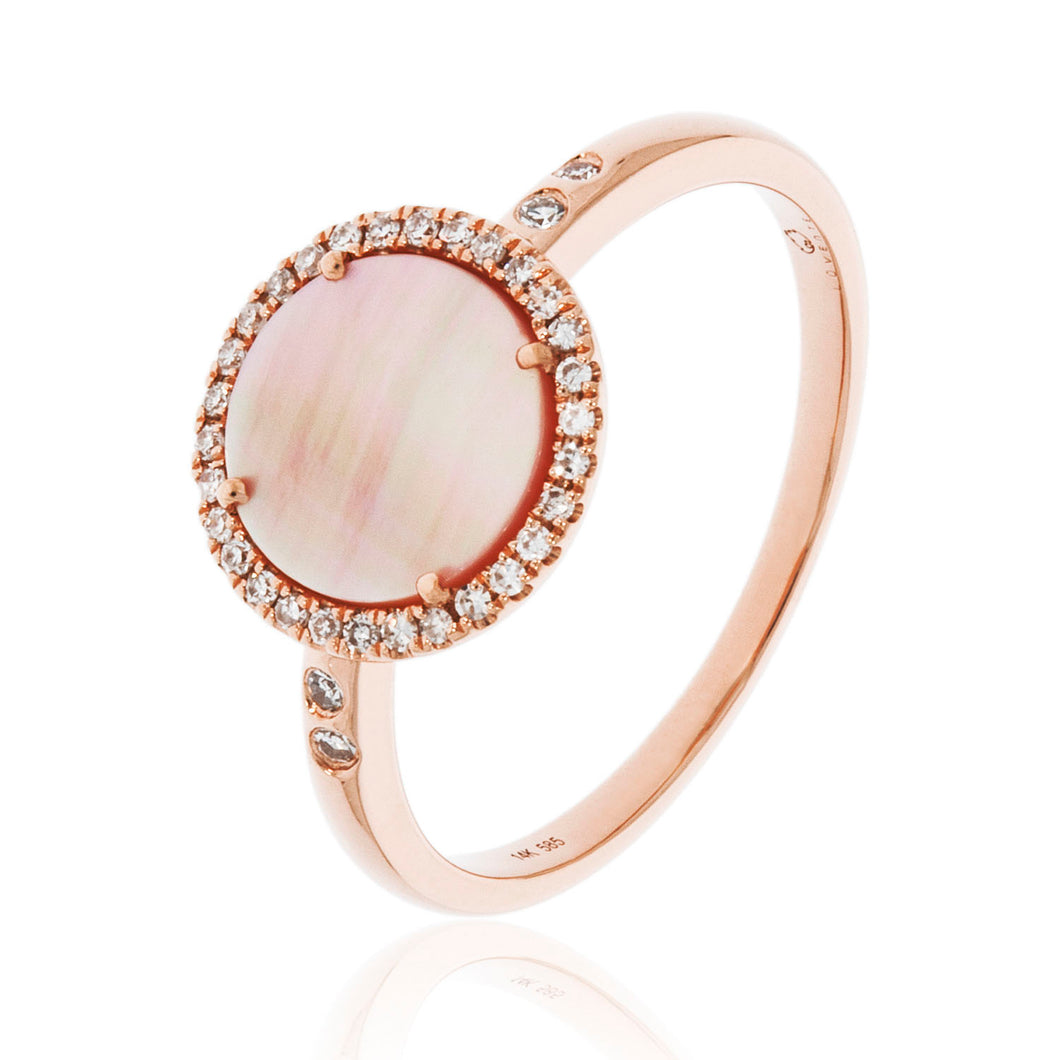 14KR Pink Mother of Pearl and Diamond Ring.