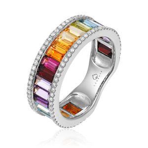 14KW Semi-Precious Gemstone and Diamond Ring