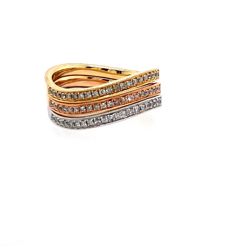 This Three Piece 14 Karat Set includes a High Polished Yellow Gold, High Polished White Gold, and a High Polished Rose Gold Curved Band, Pave' set with Sparkling White Diamonds. Stack them or where them Separate.  Finger Size 7  Total Diamond Weight .31 Carat