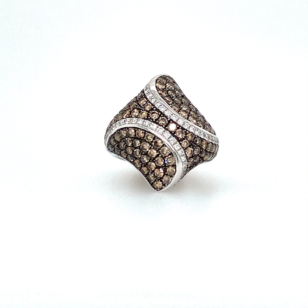 Big, Bold, and Beautiful best Describes this 14 Karat White Gold Dohme Shape ring featuring a Total of 3.53ctw of Sparkling Diamonds.  Total Weight is 11.3 Grams  Finger Size 7