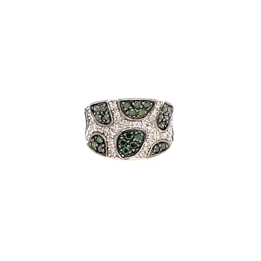 This Estate Ring Features .97dtw of Green and White Diamonds.  Finger Size 7  Total Weight is 5.5 Grams
