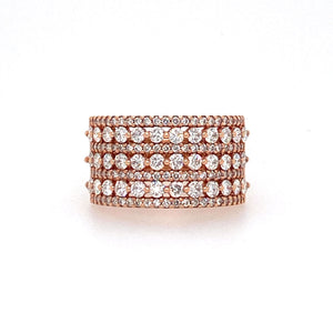 Seven Rows of White Sparkly Diamonds makes this 14 Karat Rose Gold Wide Diamond Band a Showstopper.  2.96dtw  Total Weight 8.2 Grams  Finger Size 10