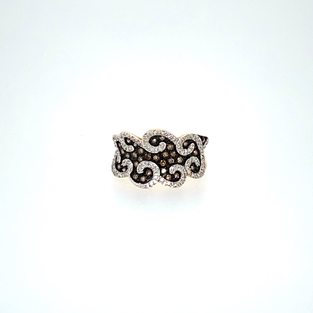 We are Loving the Swirls of White Sparkling Diamonds in this 14 Karat Yellow Gold Ring featuring Champagne Diamonds set into Black Rhodium.  Finger Size 6  Total Diamond Weight .42dtw