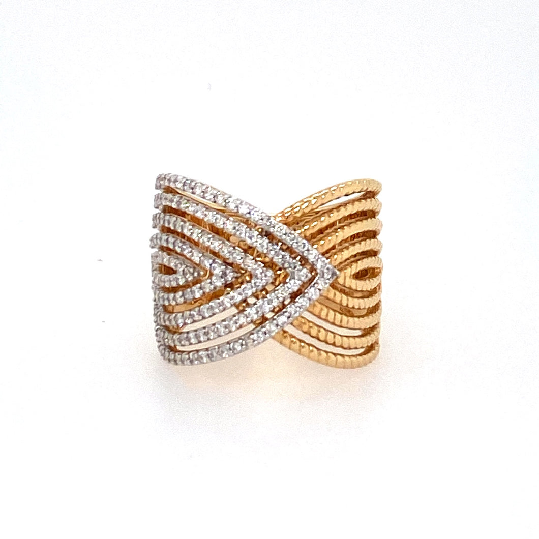 1/2 the Band Features Pave Set Diamonds, while the Other half features a 14 Karat Yellow Gold Rope Design. A Fun Fashion Ring that makes a Statement.  Finger Size 7. Total diamond weight is .78dtw
