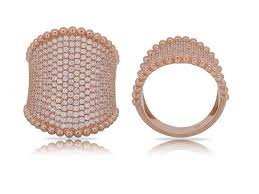 This 14 Karat Rose Gold Stunning Wide Band Features 2.14 Carats of Beautiful White Diamonds, Pave set.   Finger Size 6.5