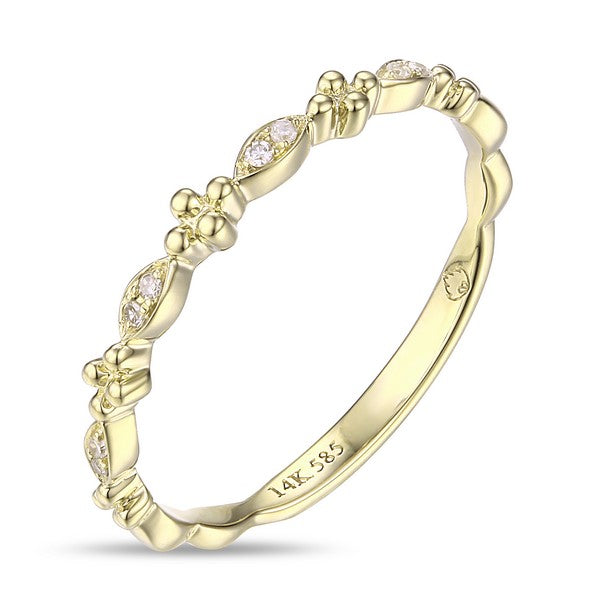 14 karat stackable band with .03ctw of diamonds, available in yellow gold, white gold, or rose gold