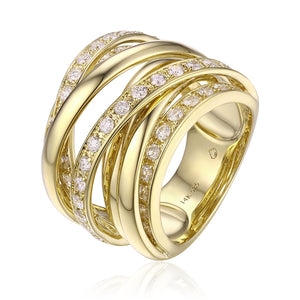 Beautifully Crafted by Luvente, this 14 Karat Yellow Gold Band Features By Passes of High Polished Gold and Bypass Rows of Diamonds. A Beautiful Big Bold Sparkling Look.   Finger Size 6  Total Weight 16.32 Grams  Total Diamond Weight 1.21 Carats