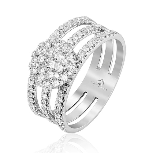 This Beautiful Diamond Ring, Crafted by Luvente, Features a Triple Shank with a Center Cluster Section, all set with Round White Diamonds. Total Diamond Weight .84 Carat  Finger Size 6.5