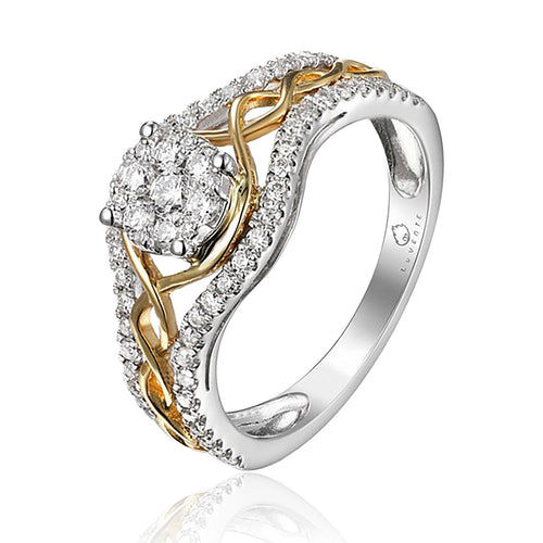 This 14 Karat White Gold and Yellow Gold Ring, designed by Luvente, Features a Center Cluster of Round White Diamonds set into a Yellow Gold Open Twisted Section of the Ring with a White Gold Section on Each Side of the Center, all set with Round White Sparkling Diamonds.  Finger Size 6.5  Total Diamond Weight = .60 Carat