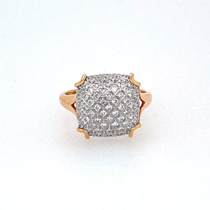 "18 Karat Rose Gold Pairs Elegantly with this  Diamond Ring featuring .41dtw of Sparkly White Diamonds creating a ""Cushion"" Shape Top.  Finger Size 6"