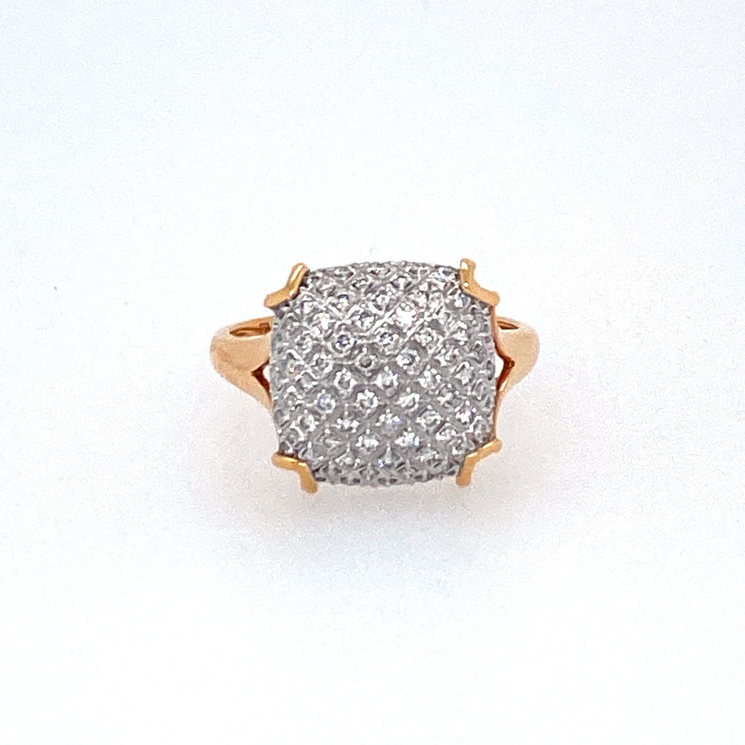 18 Karat Rose Gold Pairs Elegantly with this  Diamond Ring featuring .41dtw of Sparkly White Diamonds creating a