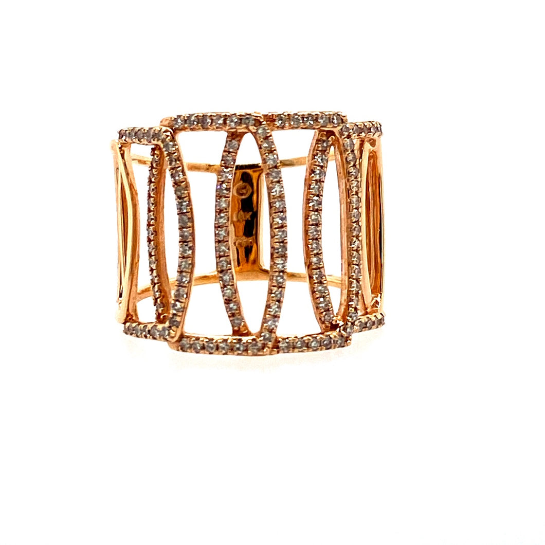 This Stunning 18 Karat Rose Gold Ring Features an Open Marquis Shape Settings on the Top and Sides, with the Top Three all set with White Sparkling Diamonds.  Finger Size 6.5  Total Diamond Weight .49 Carat  Width on Top is  Approximately 16.4mm Wide