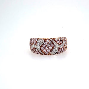 18KR Natural Pink and White Diamond Ring