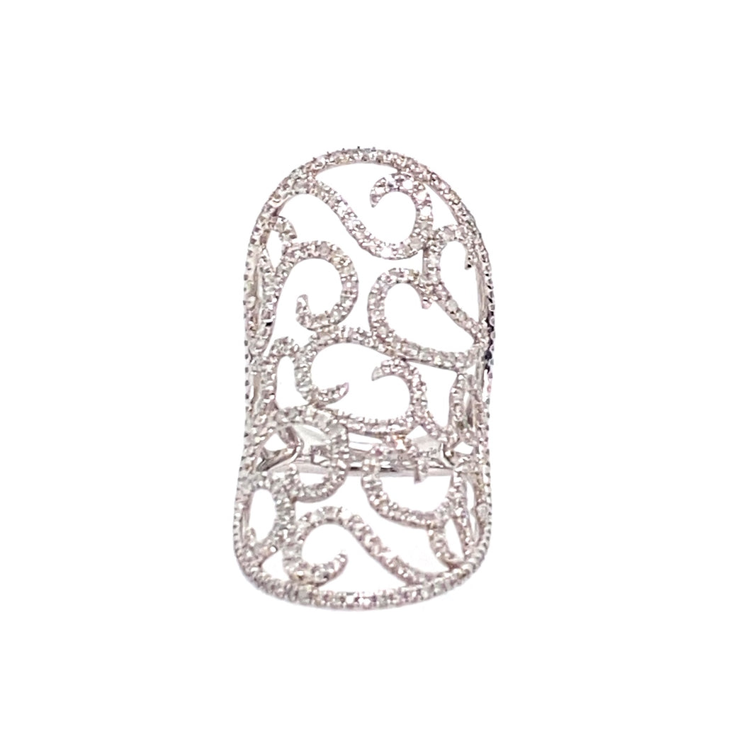 One of our favorite Elongated Rings, this 18 Karat White Gold Ring Features 1.59dtw of Diamonds set into a Lace Like Design  Total Weight 5.9 Grams  Finger Size 6.5