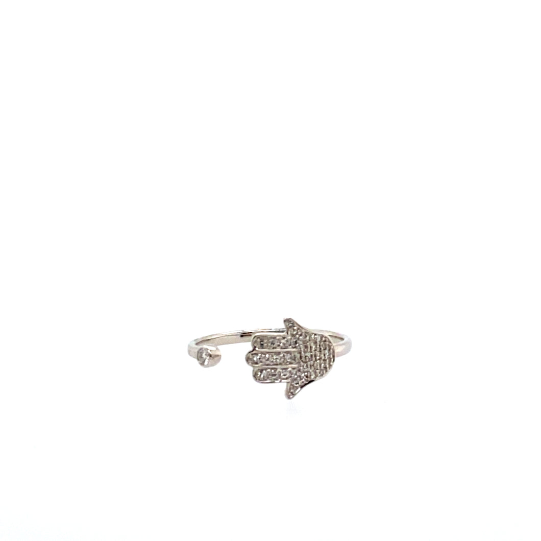 This Dainty 18 Karat White Gold Ring Features a Diamond Hand of God in an Open Shank Setting.  Measures 9.0mm at Widest Point  Total Diamond Weight .17 Carat  Total Weight 1.6 Grams