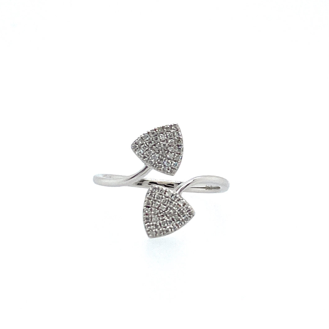 Lots of Sparkle with this 14 Karat White Gold Diamond Fashion Ring, Featuring Two Triangles, set with White Diamonds.  Finger Size 7  Total Diamond Weight .18 Carat