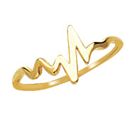 14 karat yellow gold heartbeat ring.  size 7