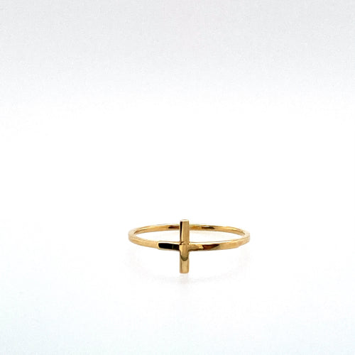 This Dainty Ring Features High Polished 14 Karat Yellow Gold with a Cross on the Top. Total Weight 1.3 Grams