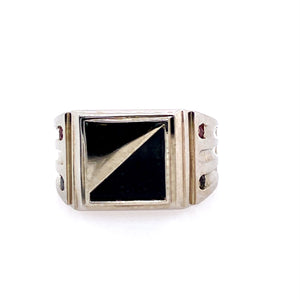 This Men's 10 Karat White Gold Ring Features a Square Top with a Black Onyx Set into it. The Sides of the Ring feature a Burnish set Semi Precious Round Stone.  Finger Size 11.75  Total Weight 10.6 Grams