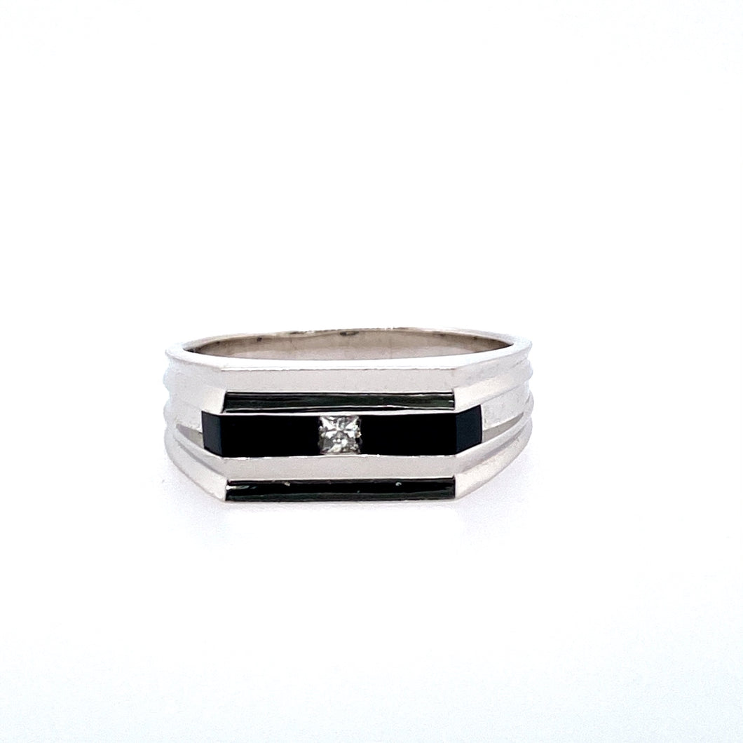 This Modern 14 Karat White Gold Men's Ring Features Long Rectangular Black Onyx Inlaid into the Ring with a Princess-Cut Diamond in the Center.  Finger Size 10.5  Total Diamond Weight .10 Carat  Total Weight 8.9 Grams