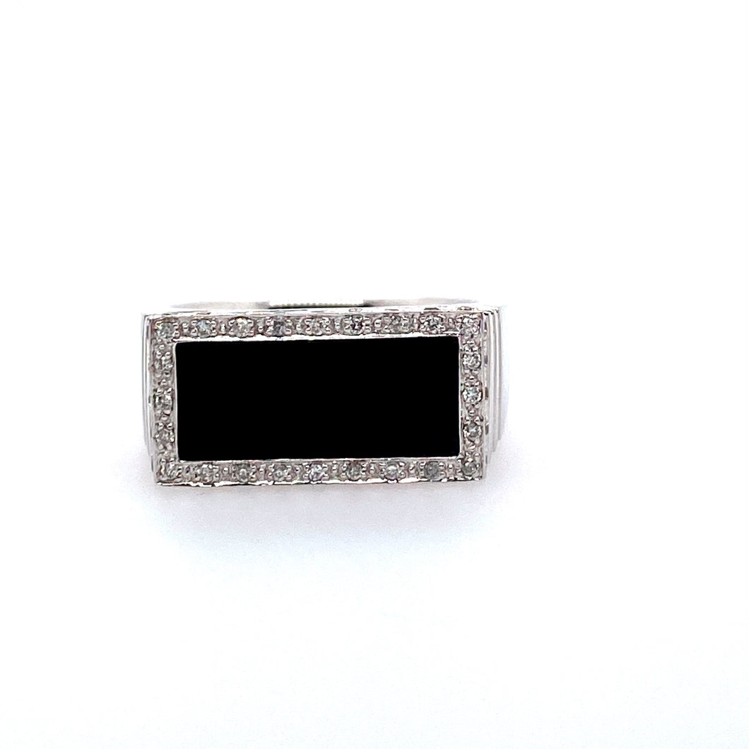 Estate - 14KW Men's Black Agate and Diamond Ring