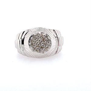 "This 14 Karat White Gold Men's ""Rolex-Style"" Diamond Ring Features .52 Total Carat Weight of Sparkling Diamonds Clustered in the Center with a ""Watch-Style"" Bezel around the Cluster.    Finger Size 9.75  Total Weight 11.6 Grams"