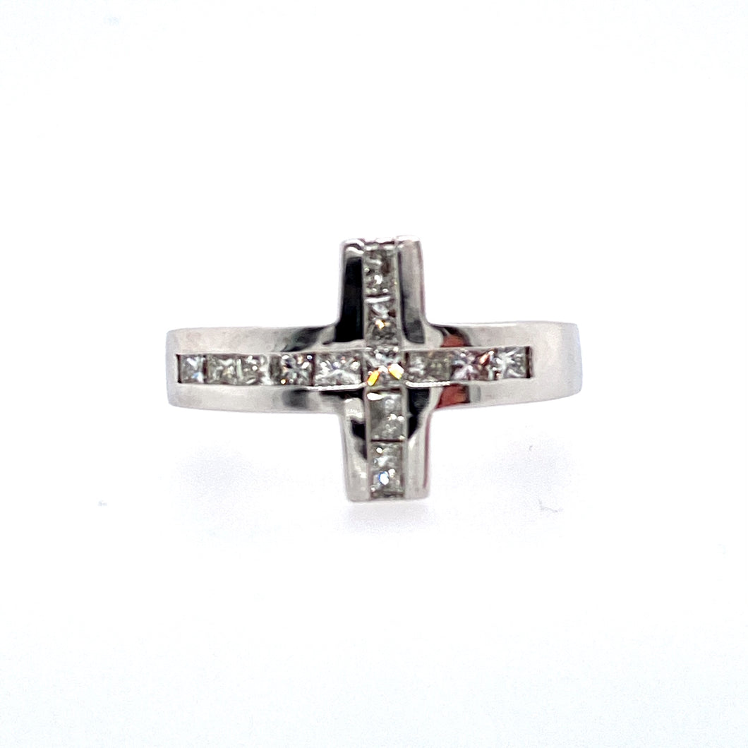 This Estate 14 Karat White Gold Men's Ring Features 1.70 Carats of VS Clarity Princess-Cut Diamonds Set into The Top of a  Cross Setting.  Finger Size 11  Estimated Diamond Weight 1.70 Carats  Total Weight 11.2 Grams