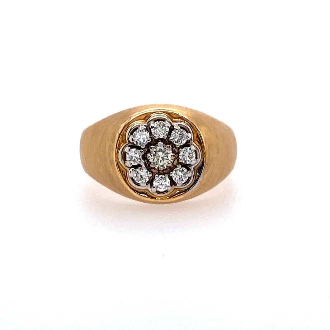 This Estate Men's 14 Karat Yellow Gold Ring with a Satin Finish Features One Center Round Diamond with Eight Round Diamonds around it.  Finger size 10  Approximate Total Diamond Weight .50 Carat (SI Clarity)  Total Weight 9.2 Grams