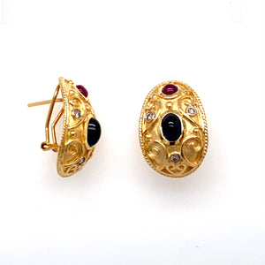 Estate - 14KY Cabochon Ruby and Sapphire and Diamond Earrings