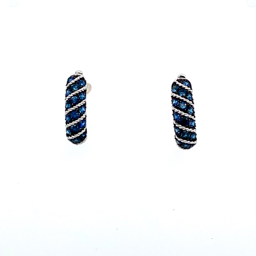 Round Sapphire Gemstones are Channel Set in Diagonal Rows Between White Gold Channels. The 14 Karat White Gold Earrings are Secured with Posts and Click in Backs.