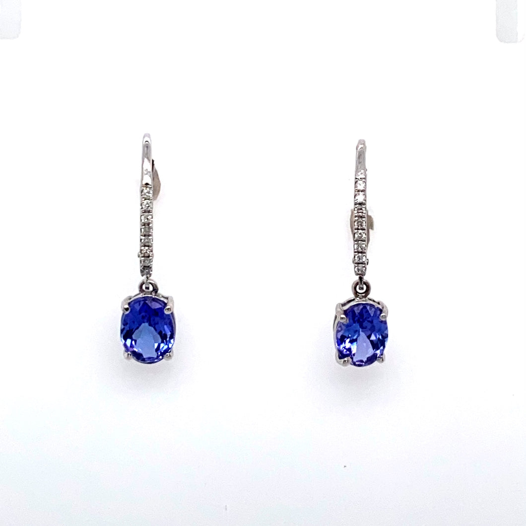 14KW Tanzanite and Diamond Dangle Earrings