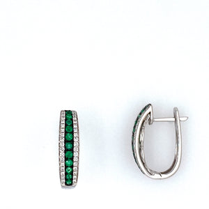 These Gorgeous 14 Karat White Gold Earrings Contain Round Emerald Gemstones Down the Center with Diamonds set Down both Sides of the Emeralds. The Earrings are Secured with a Click in Closure.  Total Gemstone Weight .38 Carat  Total Diamond Weight .30 Carat