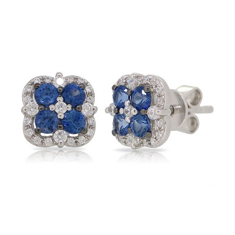14 karat white gold 8 sapphire and diamond stud earrings